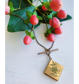 Victorian Floral Etched Locket Necklace