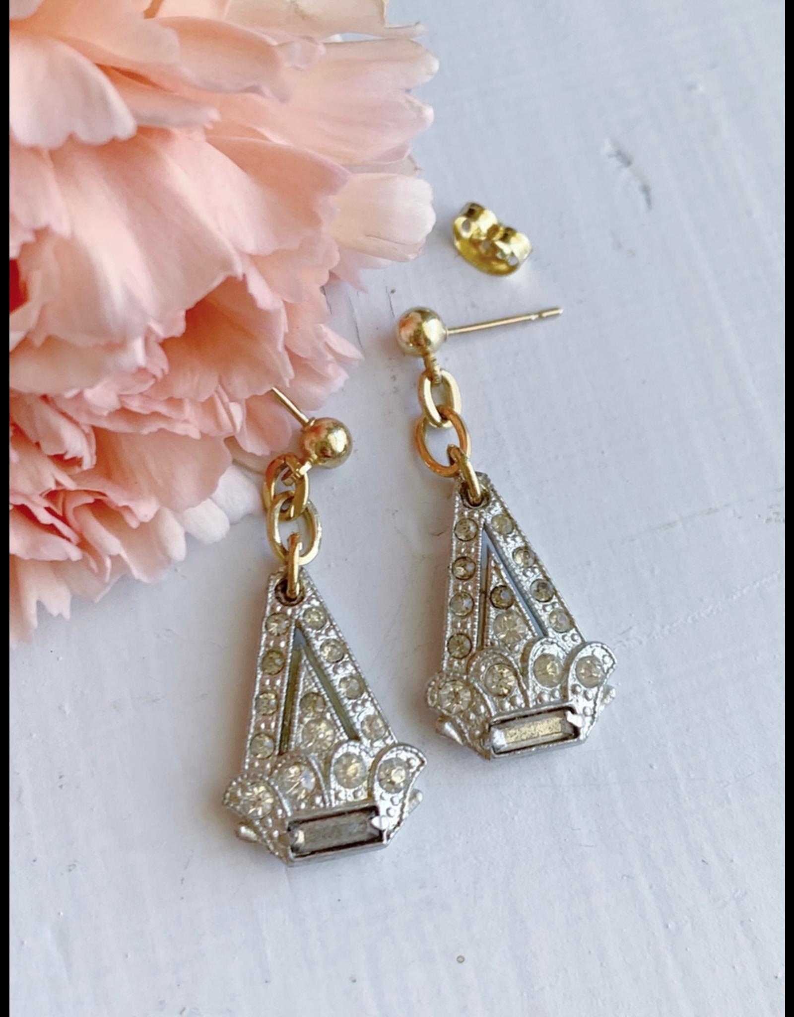 Art Deco Rhinestone Triangle Earrings