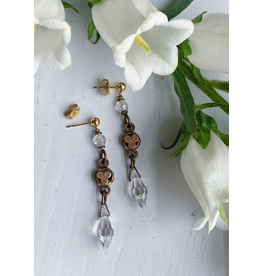 Victorian Clover Fob and Cut Crystal Earrings