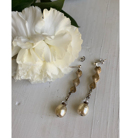 Antique Glass Pearl and Brass Twist Earrings