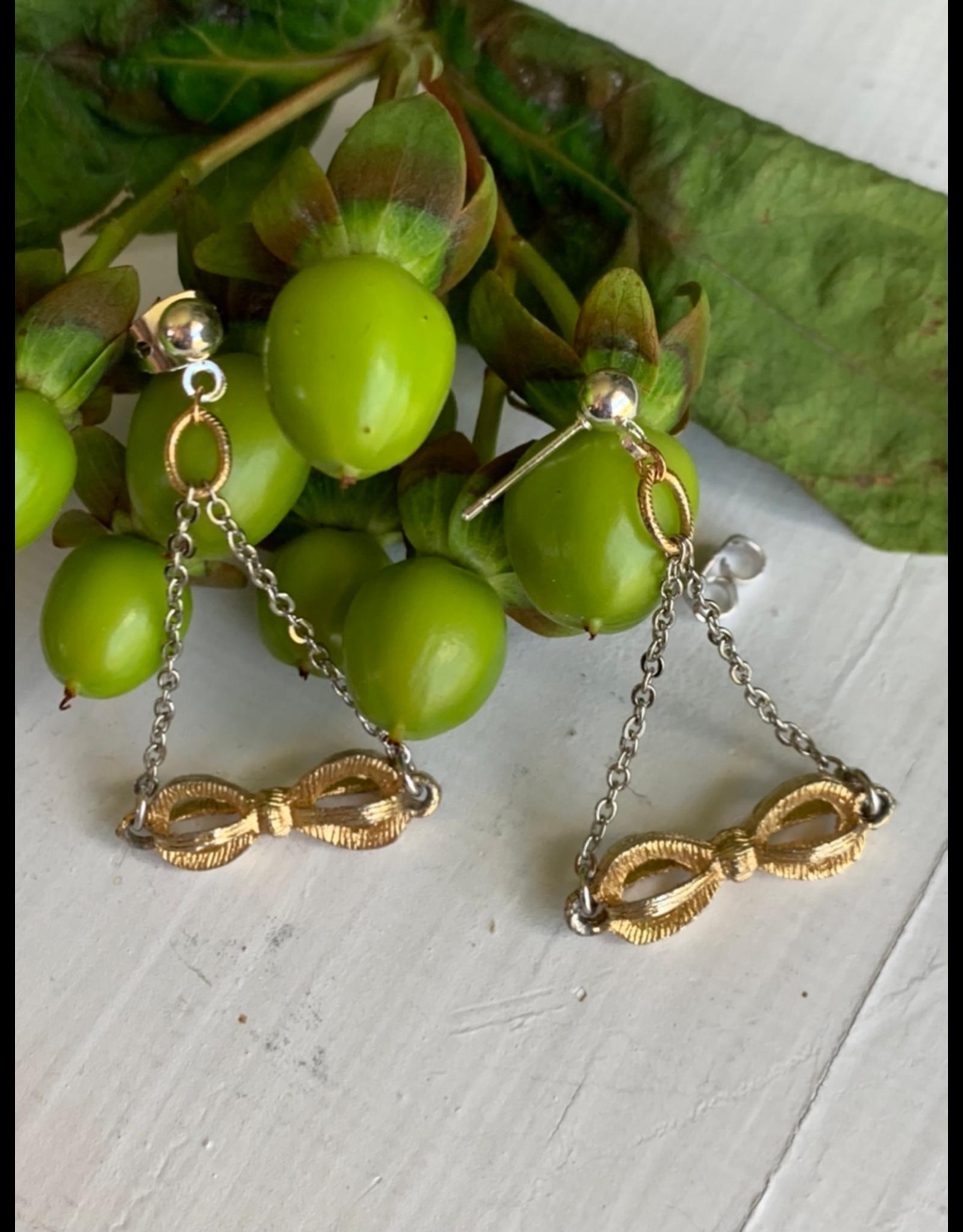 Vintage 3D Brass Bow Earrings