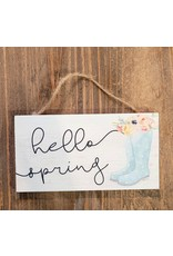 Sincere Surroundings Hello Spring Hanging Block Sign