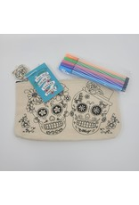 Sugar Skull Color-In Canvas Zip Pouch