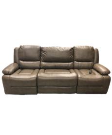 """Volant Mink 90"""" Three-Piece Recliner with Multi-position Massage, USB, and Flip-down Cupholders"""