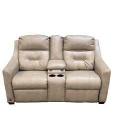 """Scamper Linen 65"""" Theater Seating with Power Recline & USB Ports"""