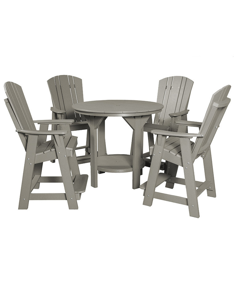 """Heritage Pub Set 48"""" Round Table and 4 Chairs Counter Height"""