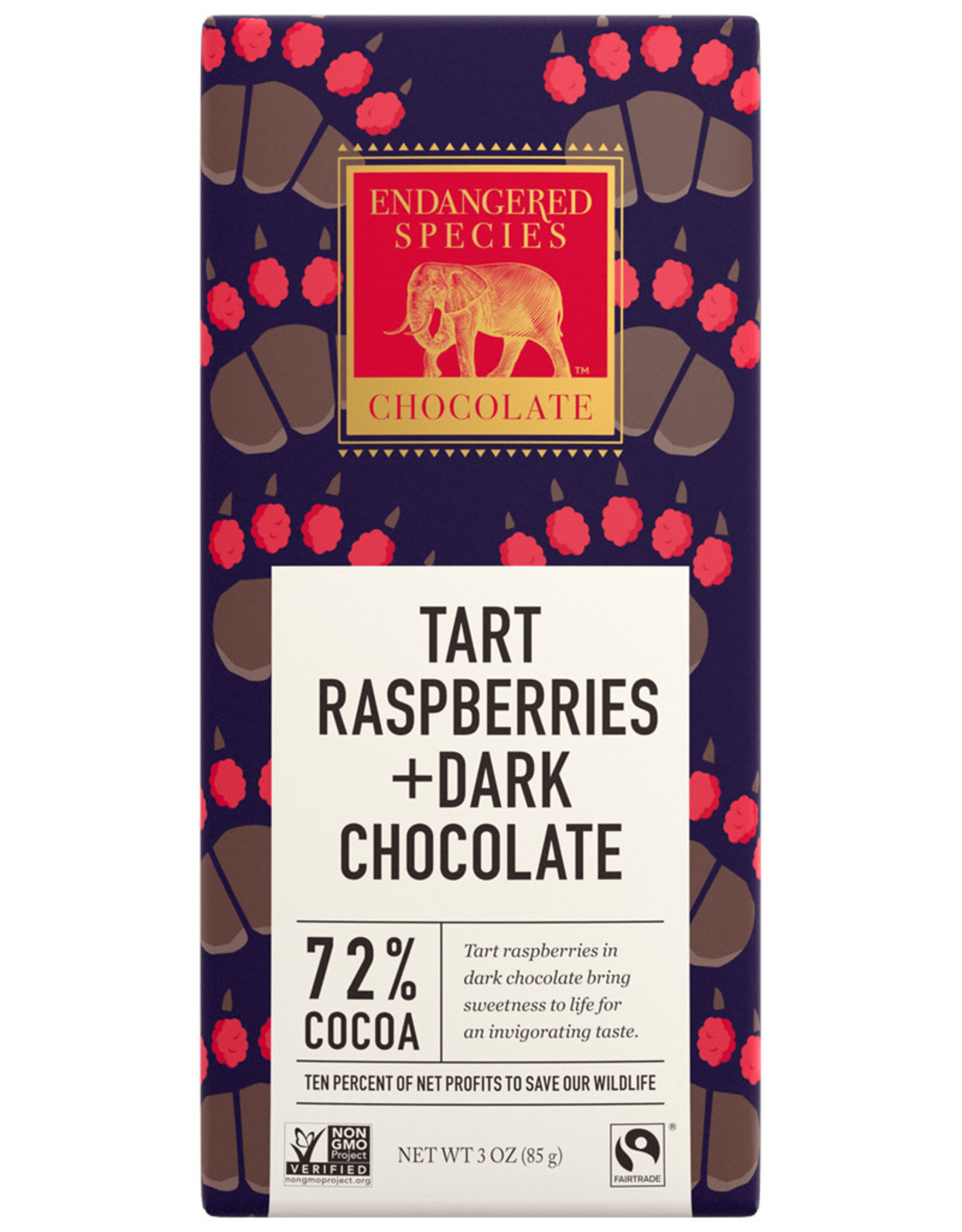Endangered Species Endangered Species - Dark Chocolate Bar, (Grizzly) Dark choc. with Raspberry