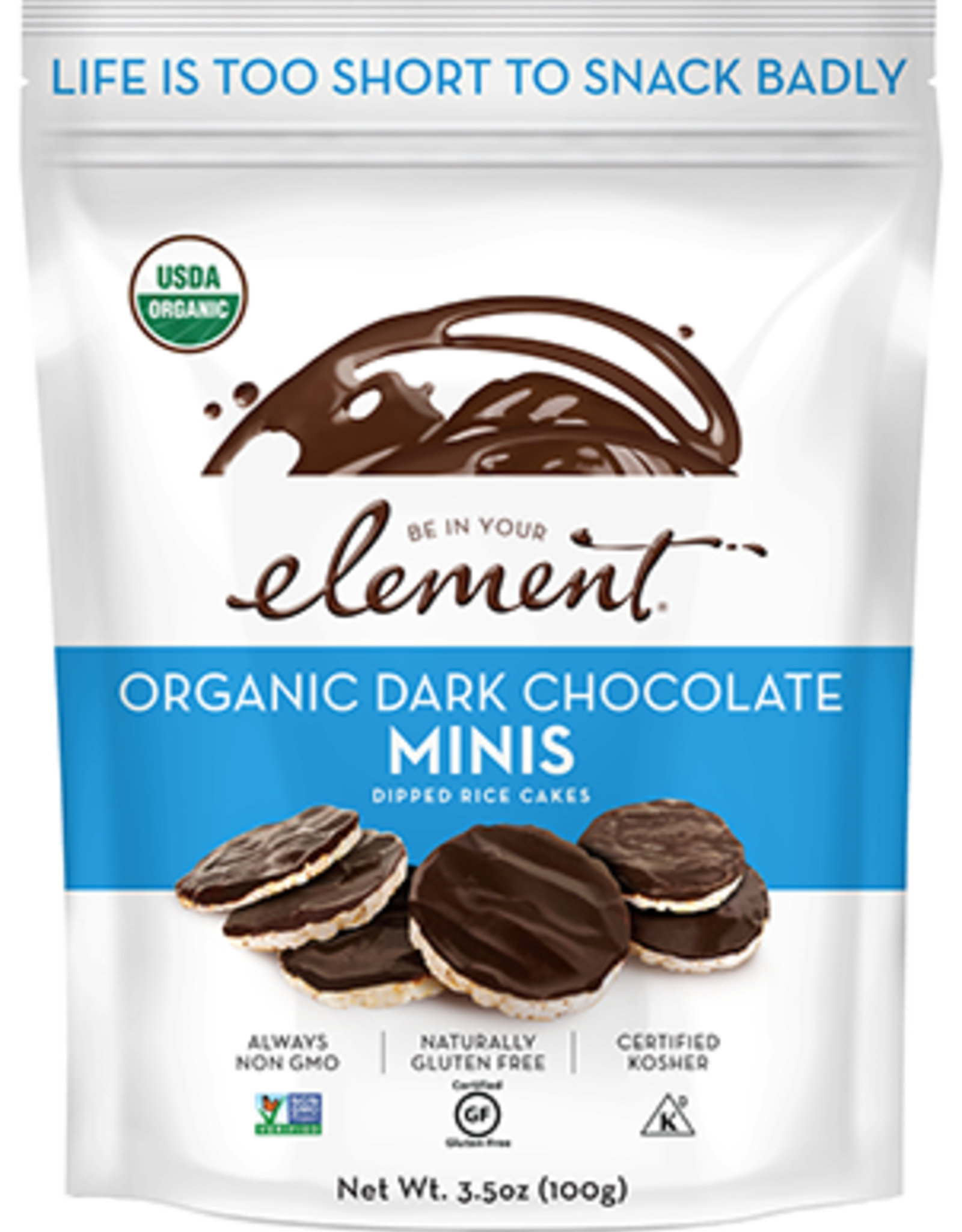 Element Element- Dipped Rice Mini Cakes, Dark Chocolate (100g)