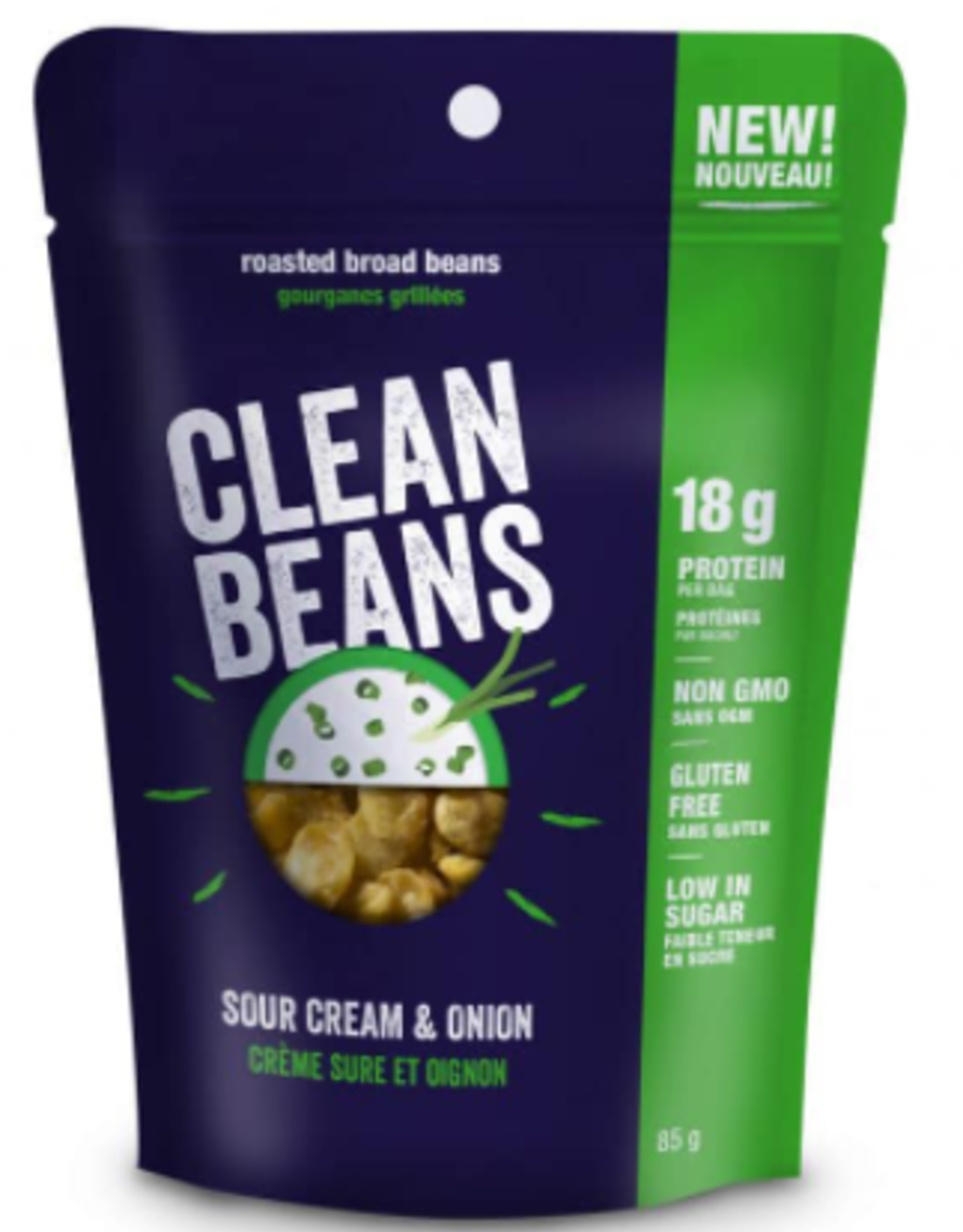 Clean Bean Clean Beans-Roasted Broad Beans, Sour Cream & Onion, 85g