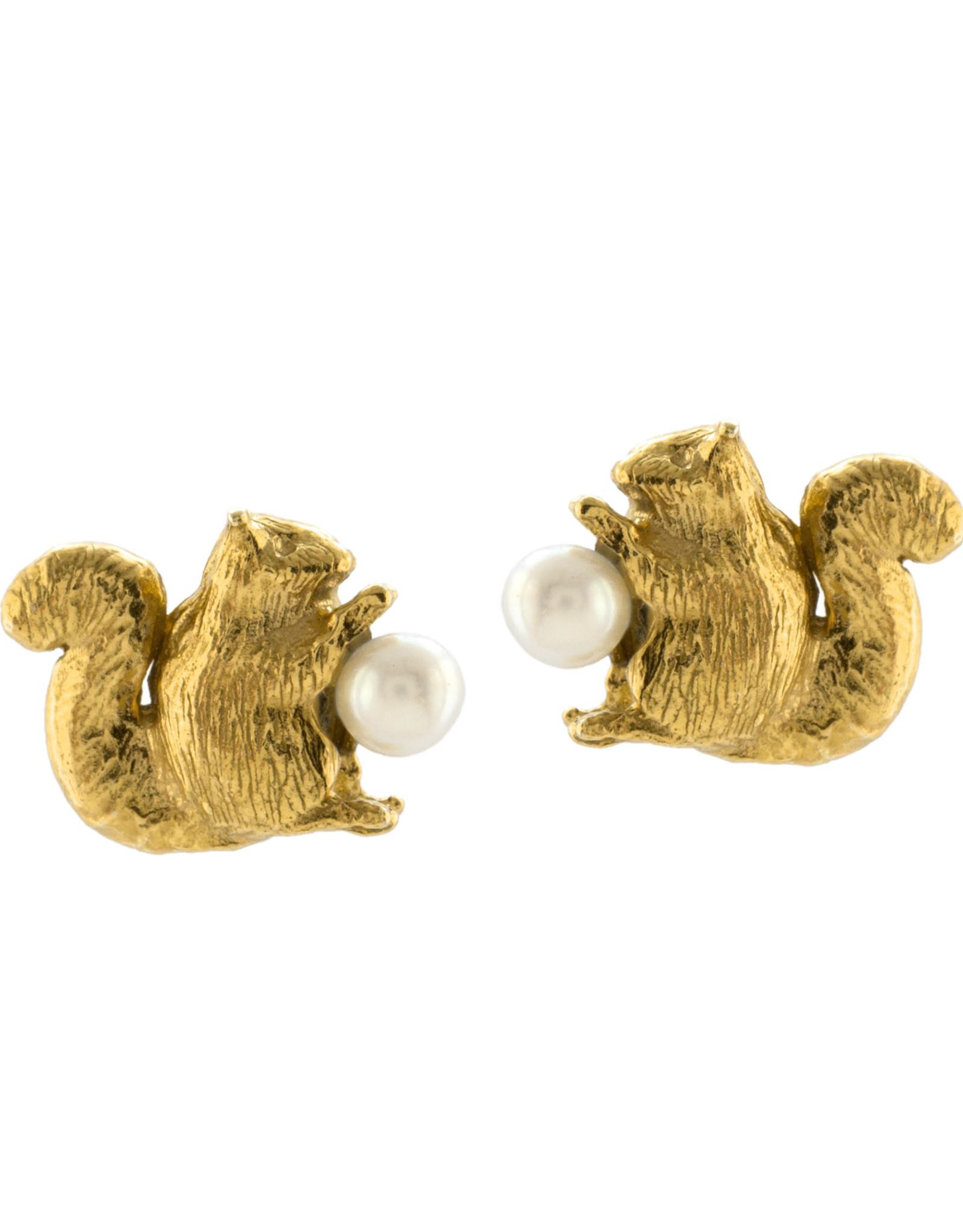 Alex Monroe Squirrel & Pearl Stud Earrings