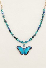 Holly Yashi Blue Radiance Bella Butterfly Beaded Necklace