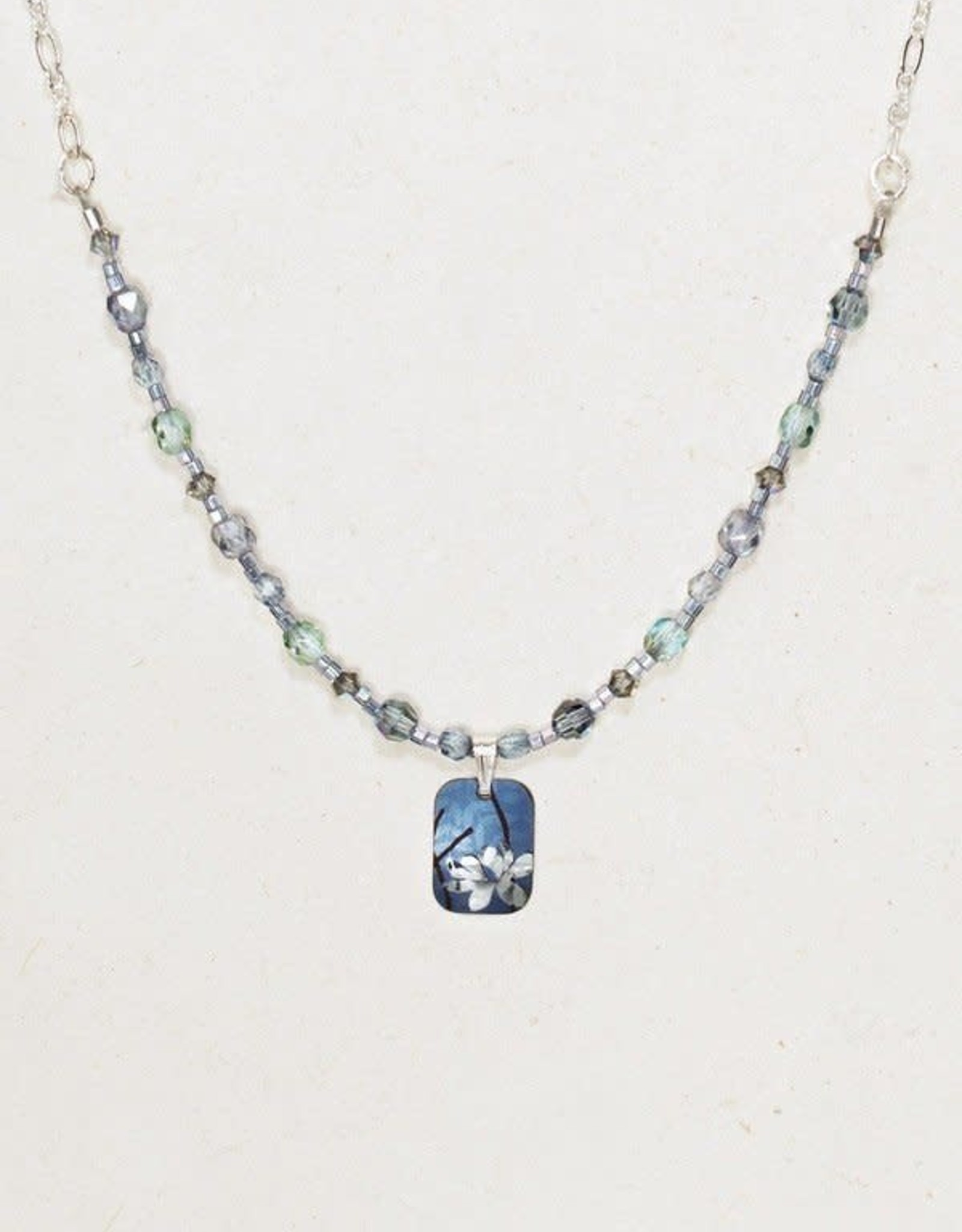 Holly Yashi Blue & Silver Blooming Lotus Beaded Necklace