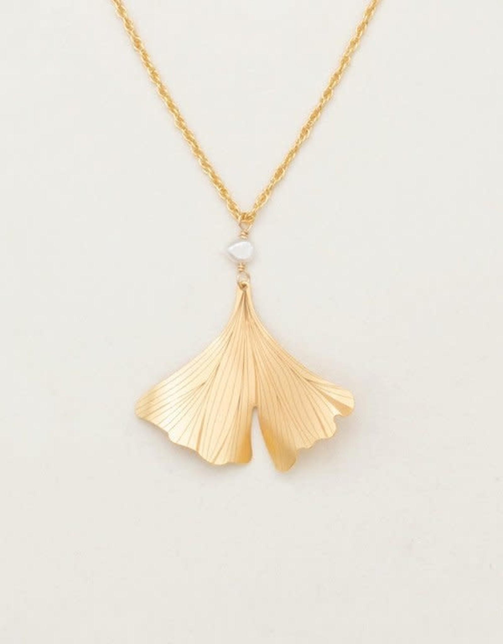 Holly Yashi Gold Ginkgo Pendant Necklace