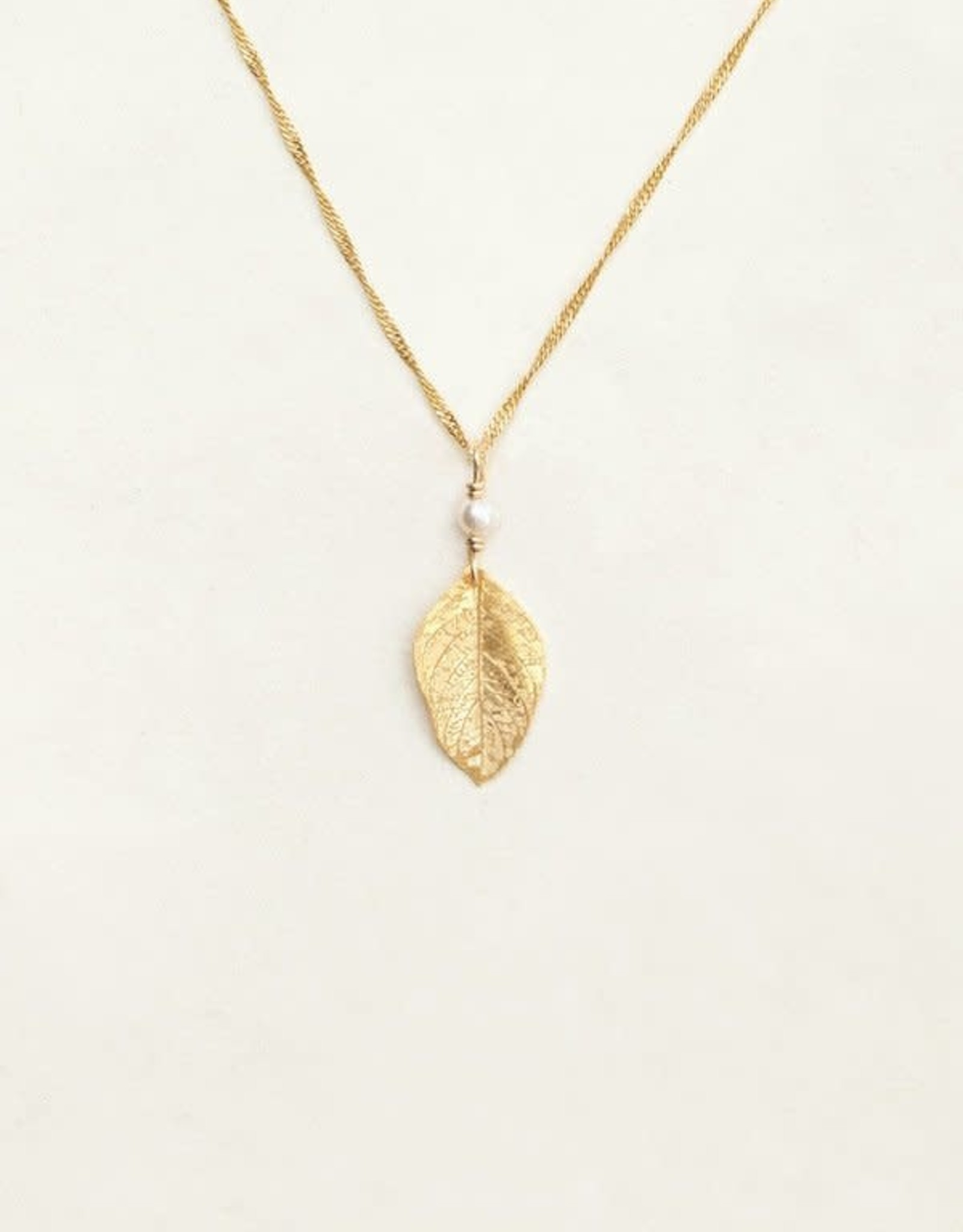 Holly Yashi Gold Healing Leaf Pendant Necklace