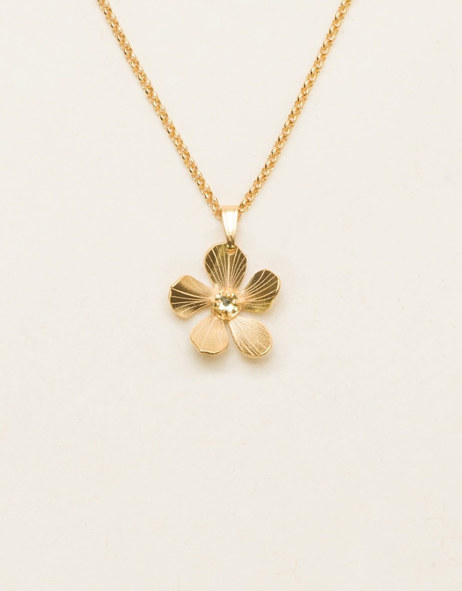 Holly Yashi Gold/Champagne Petite Plumeria Drop Necklace