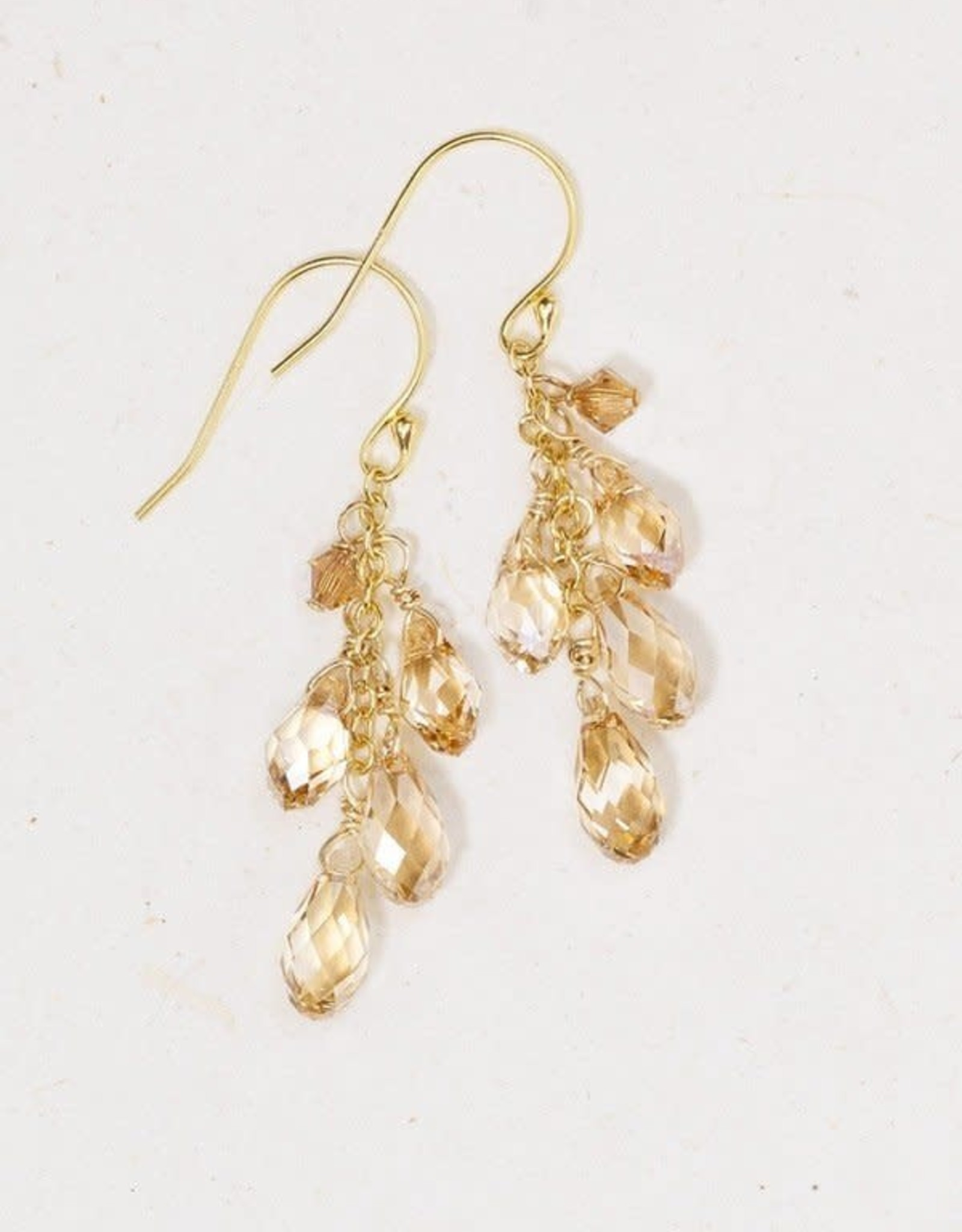 Holly Yashi Champagne Celine Cluster Drop Earrings