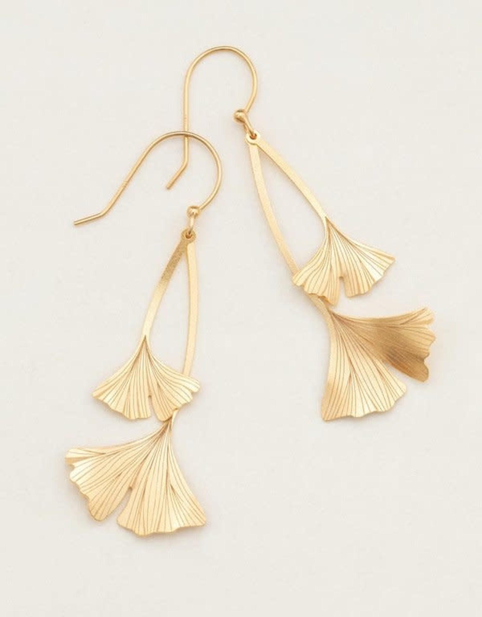 Holly Yashi Gold Ginkgo Drop Earrings