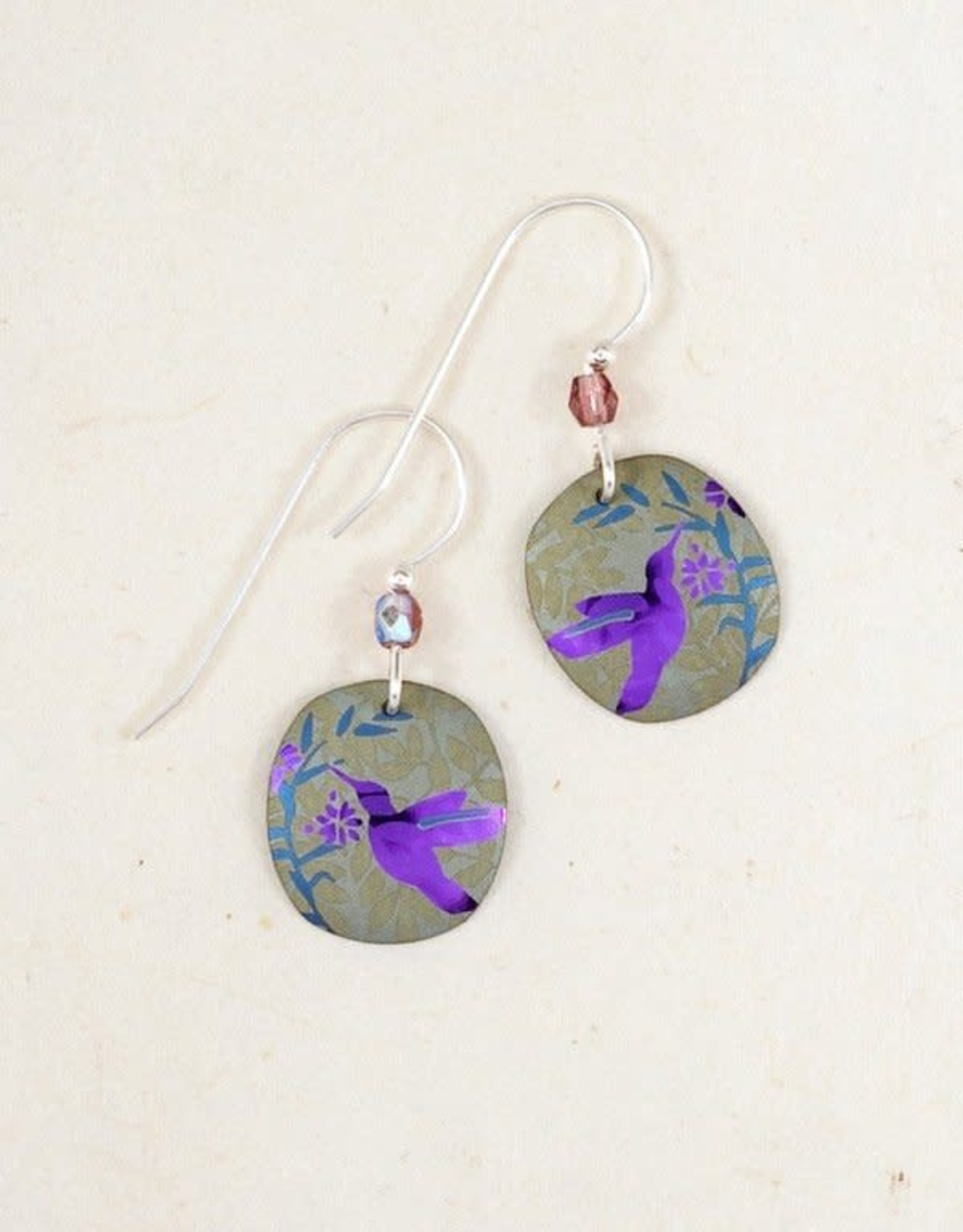 Holly Yashi Grey & Fuchsia Hummingbird Nectar Earrings