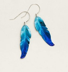 Holly Yashi Navy Blue Petite Free Spirit Feather Earrings