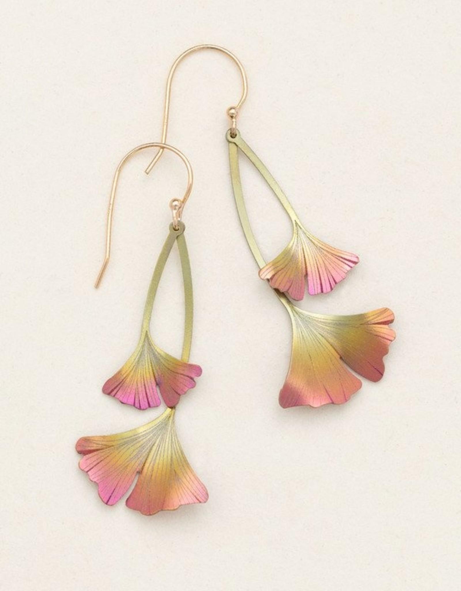 Holly Yashi Peach Ginkgo Drop Earrings