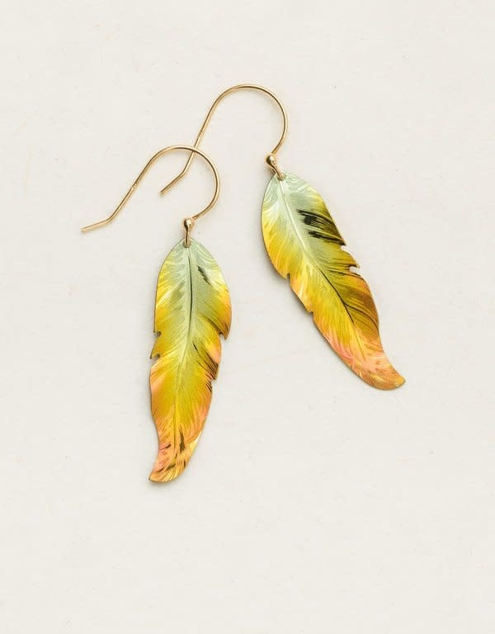 Holly Yashi Peach Petite Free Spirit Feather Earrings