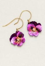 Holly Yashi Purple Pansy Earrings