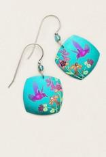 Holly Yashi Teal Hummingbird Spring Earrings
