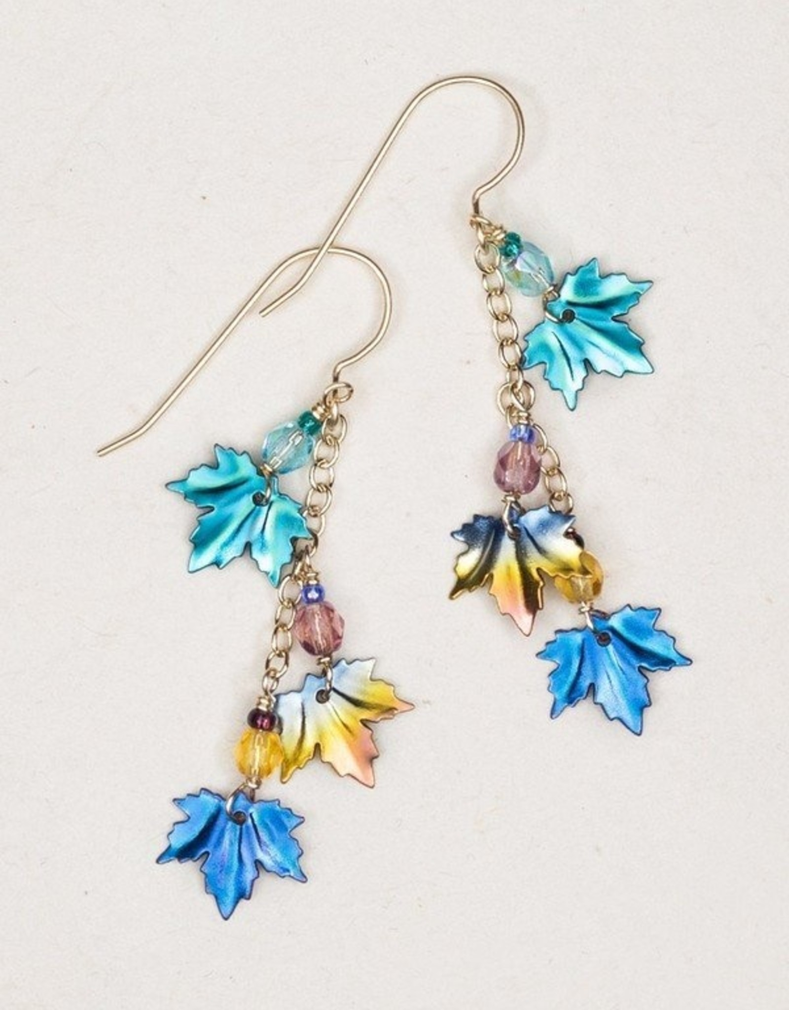 Holly Yashi Teal/Khaki/Blue Maple Chime Earrings