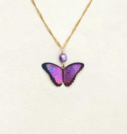 Holly Yashi Ultra Violet Bella Butterfly Pendant Necklace