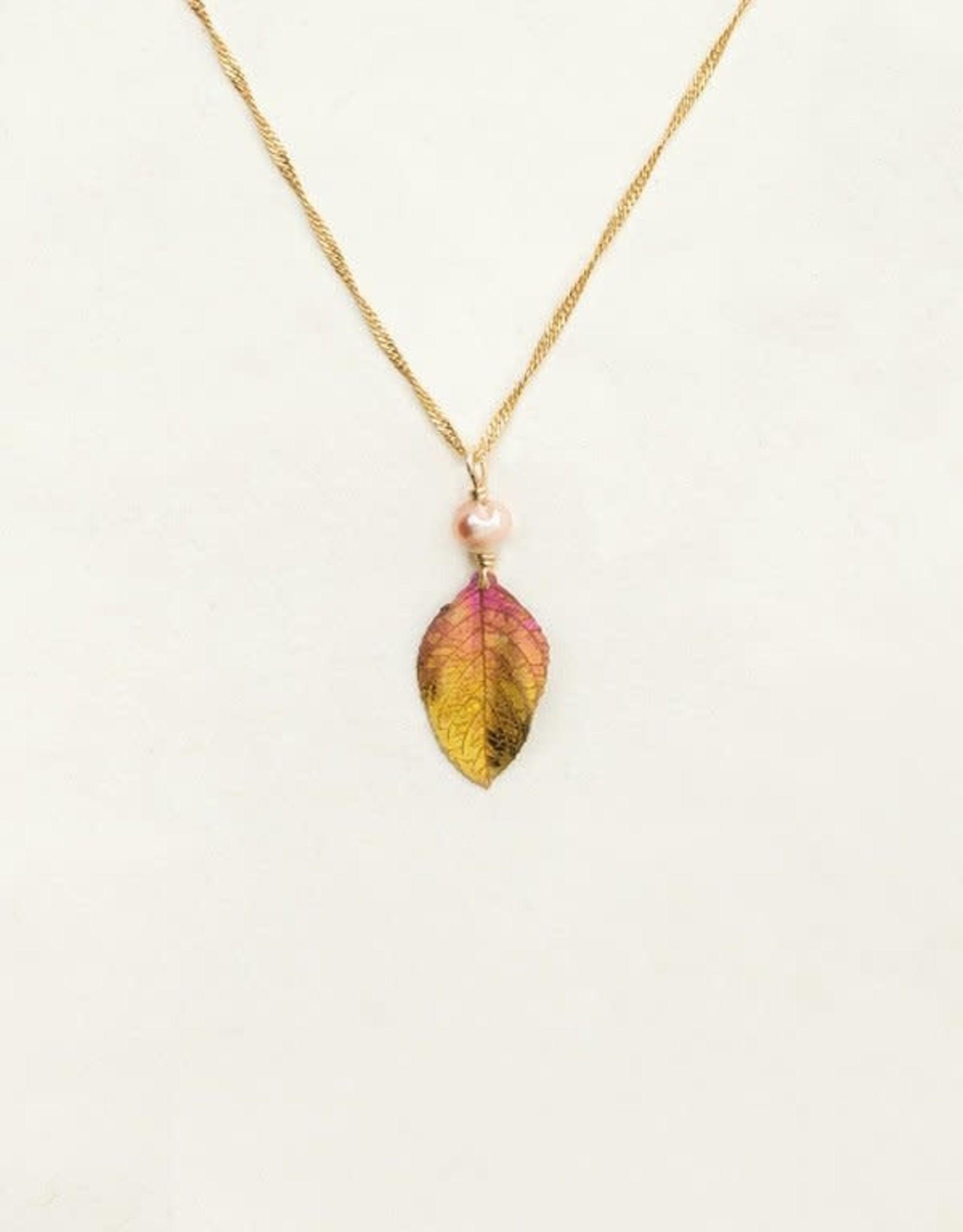 Holly Yashi Peach Healing Leaf Pendant Necklace