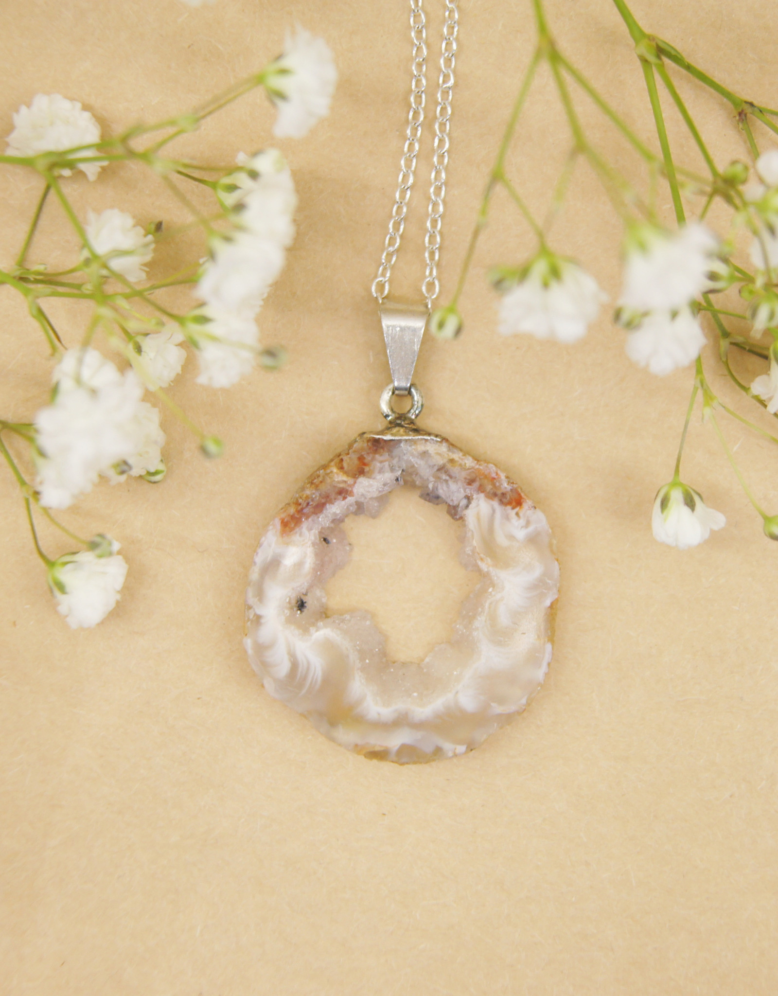 Nomad Crystals Sliced Geode Necklaces