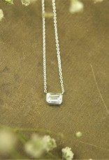 Tashi Emerald Cut -Bezel Set White Topaz Necklace