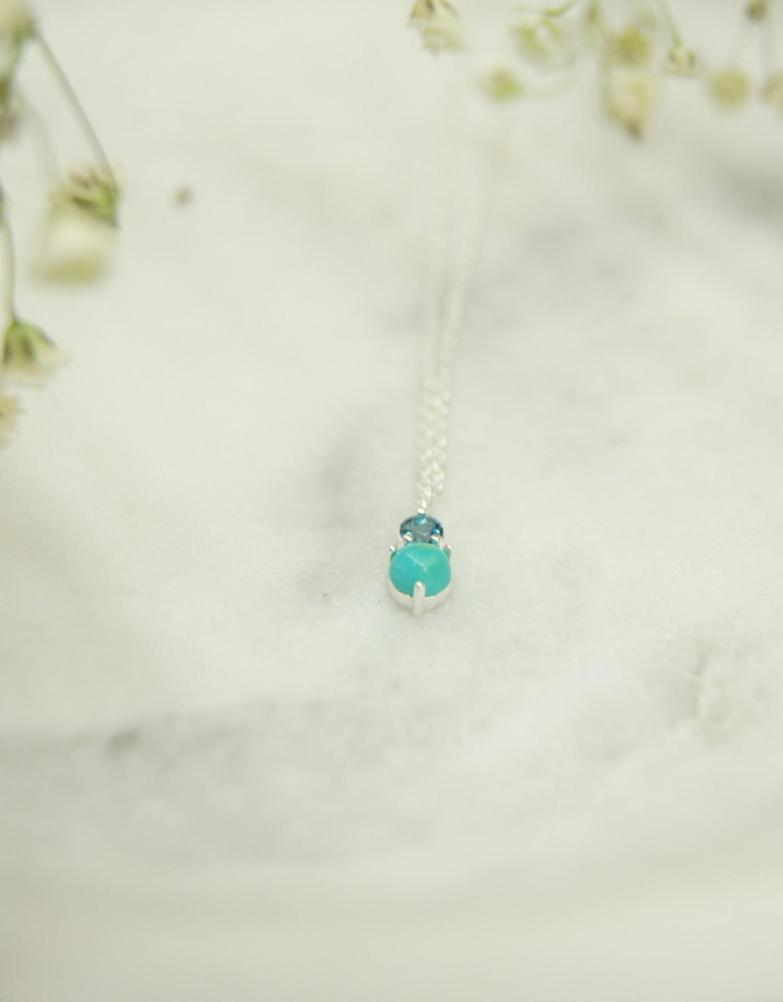 Tashi TN142S  Turquoise & London Blue Topaz Necklace -SS