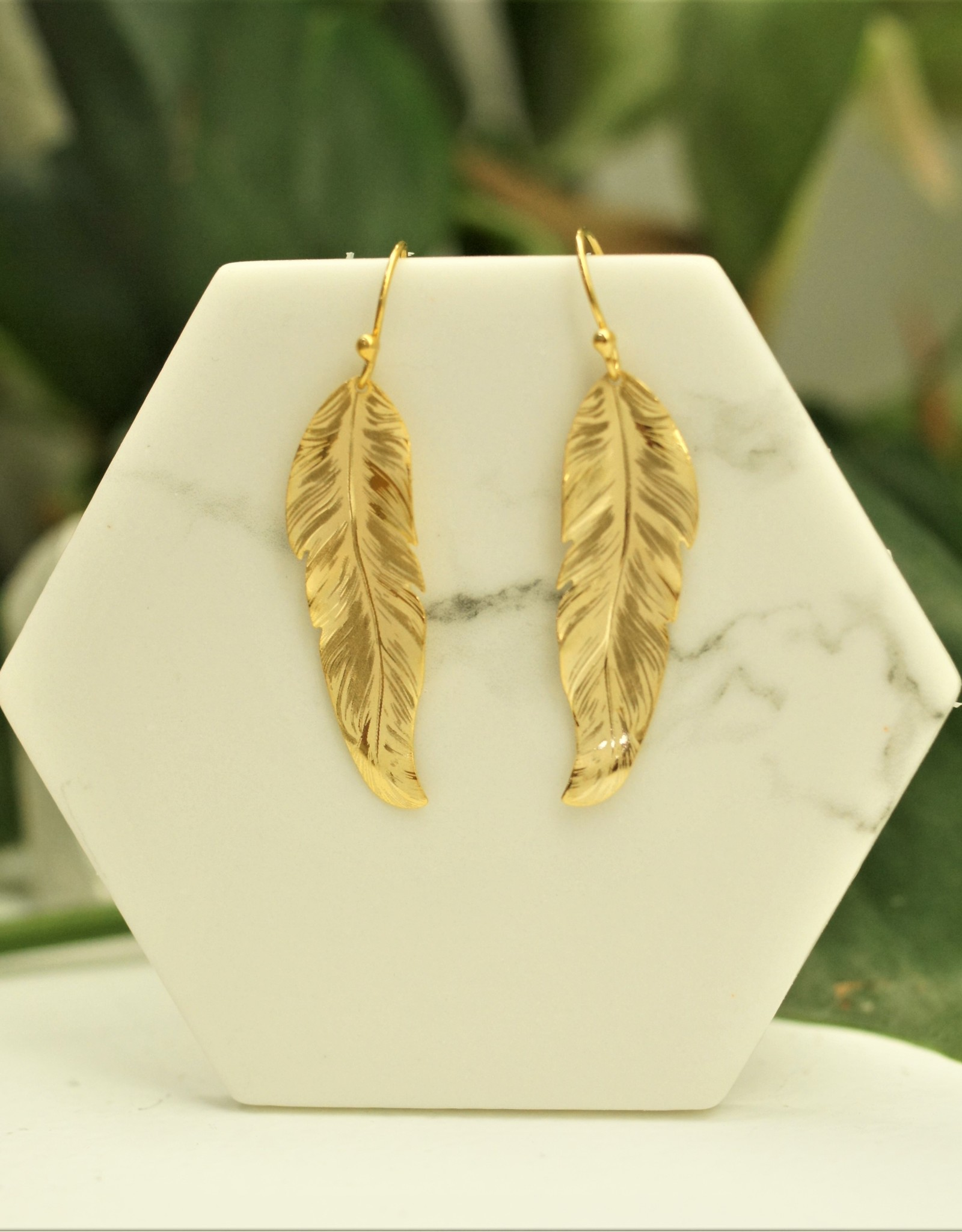 Holly Yashi Gold Petite Free Spirit Feather Earrings