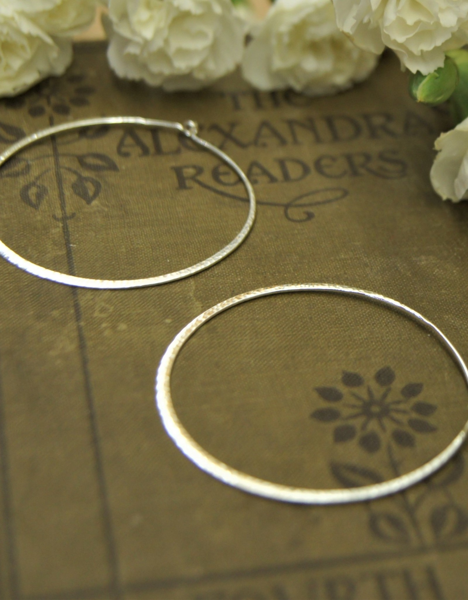 Tashi Large Hammered Wire Hoops