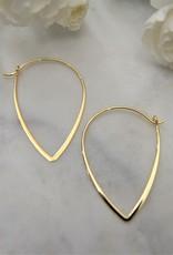 Tashi Shaped Wire Hoops Gold Vermeil