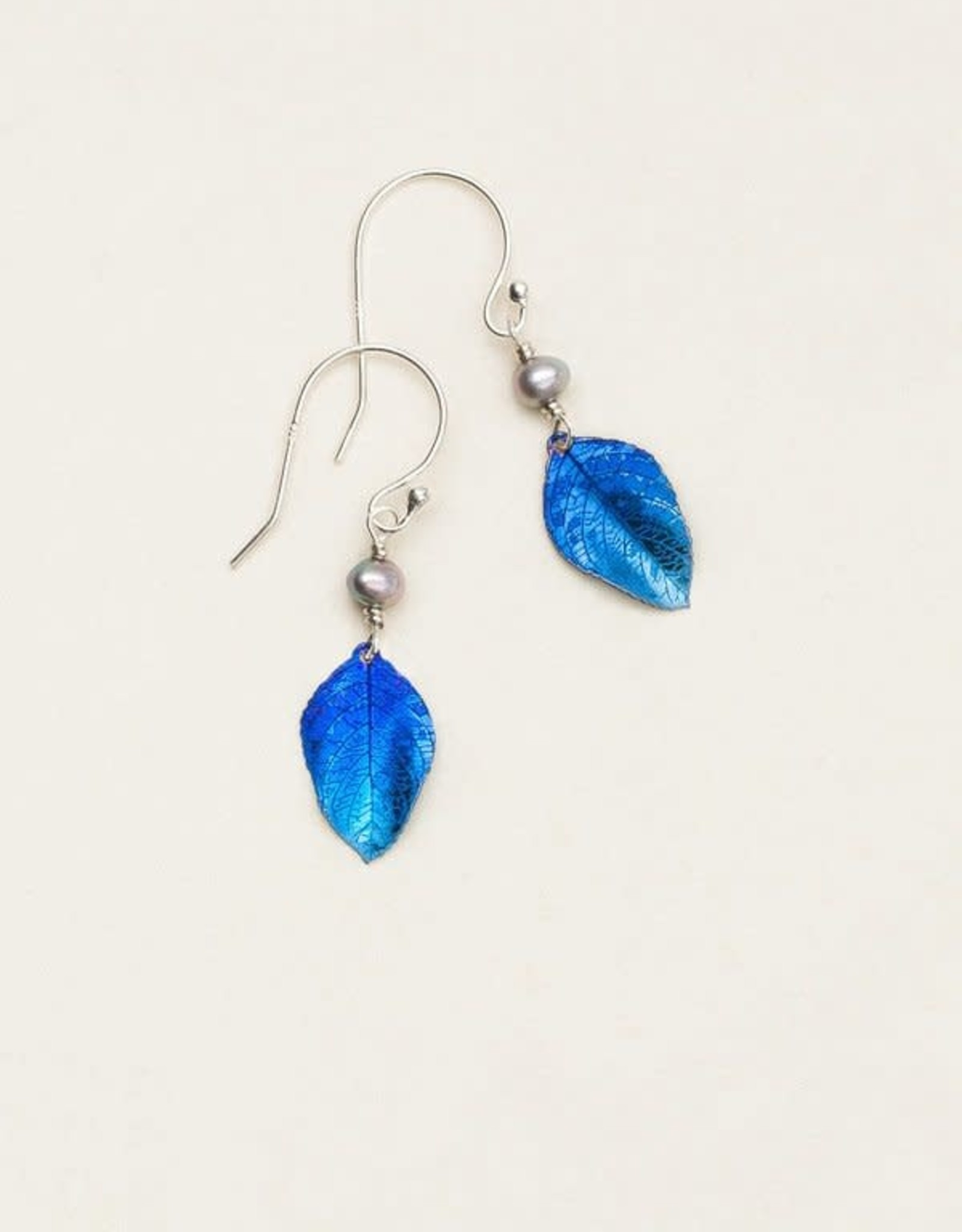 Holly Yashi Navy Healing Leaf Earrings