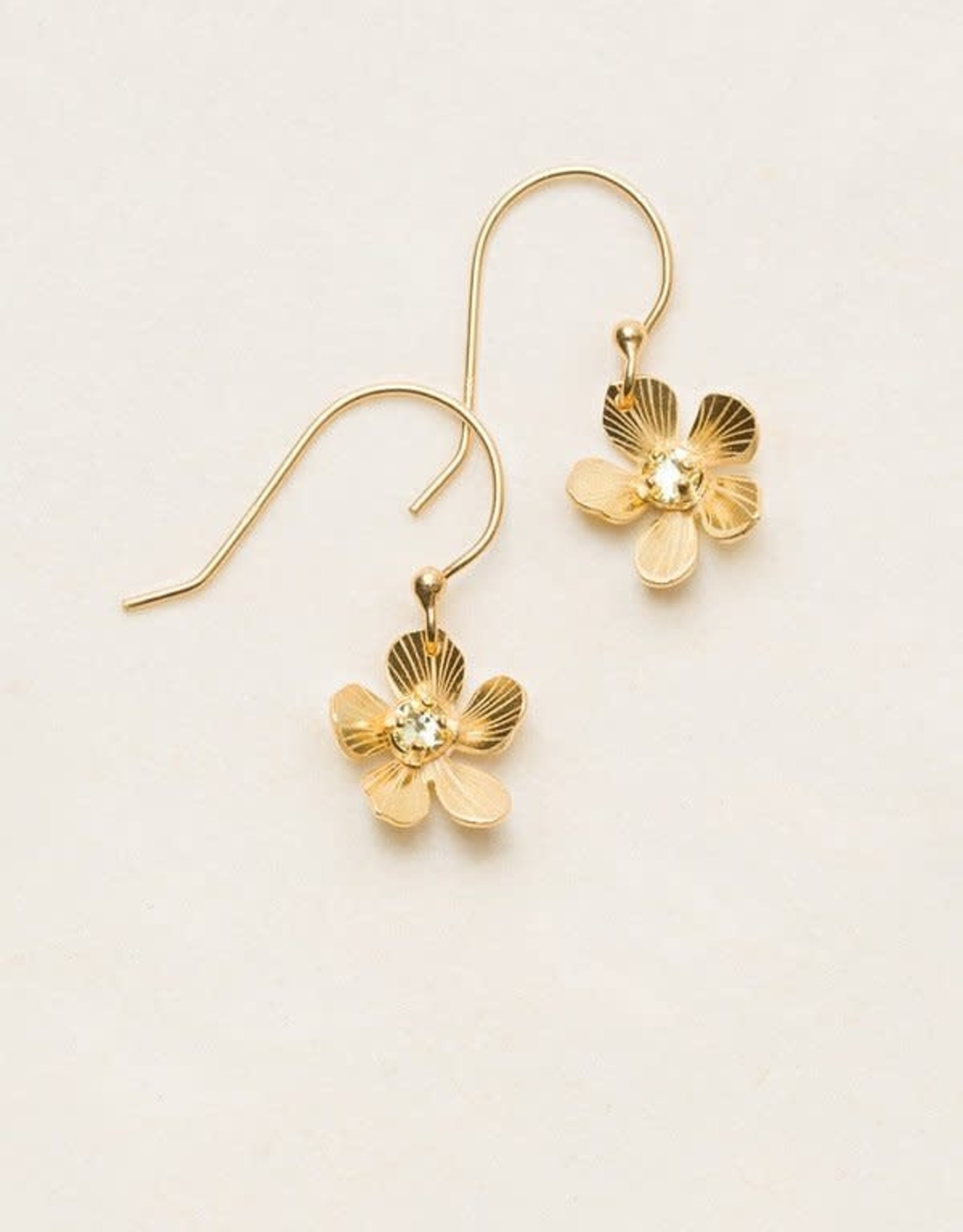 Holly Yashi Gold/Champagne Petite Plumeria Drop Earrings