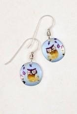Holly Yashi Blue Wise Owl Earrings