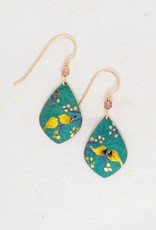 Holly Yashi Teal/Peach Lovebirds Earrings