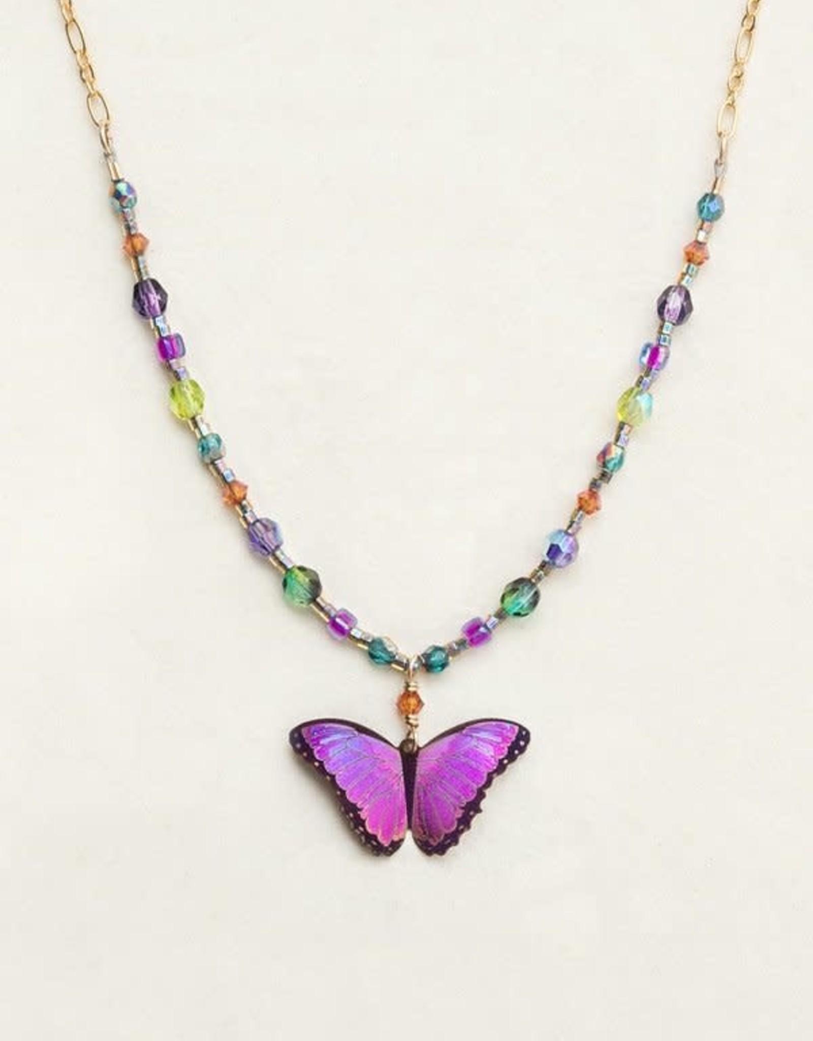 Holly Yashi Ultra Violet Bella Butterfly Beaded Necklace
