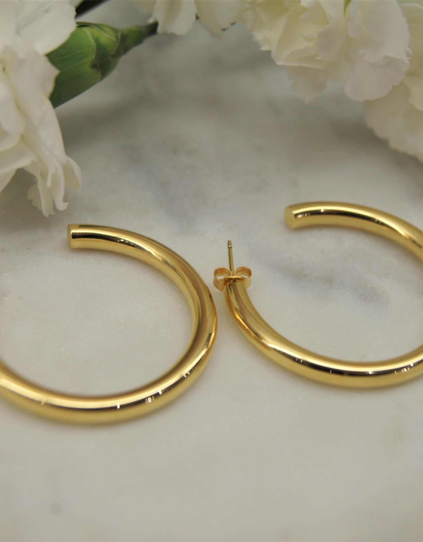 Tashi TE381G fat Tube 25mm Stud Hoop Earrins - Gold Vermeil