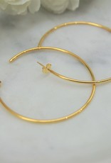 Tashi 50mm Thin Tube Hoop Earrings - Gold Vermeil