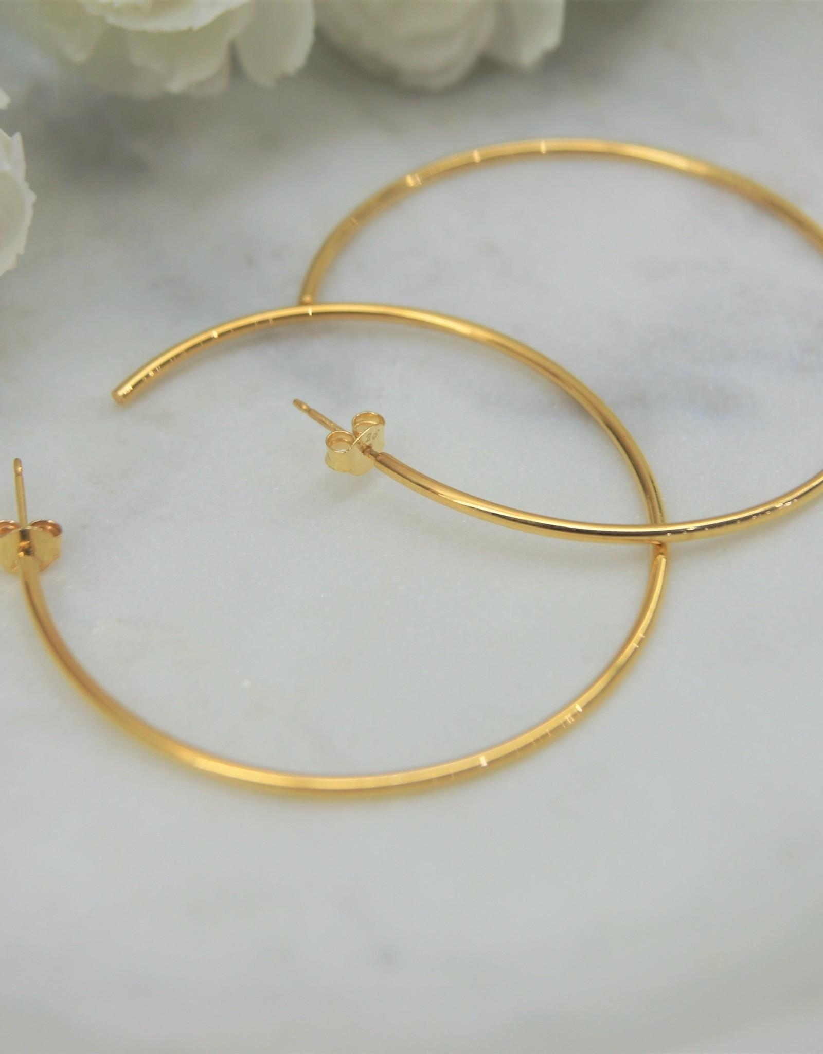 Tashi 50mm Thin Tube Hoop Earrings - Gold Vermeil