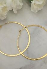 Tashi Lrg. Hammered Wire Hoop -Gold Vermeil
