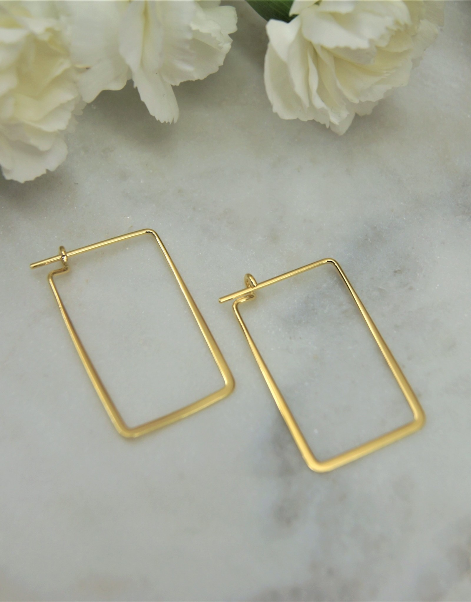 Tashi Rectangle Shaped Wire Hoop Gold Vermeil