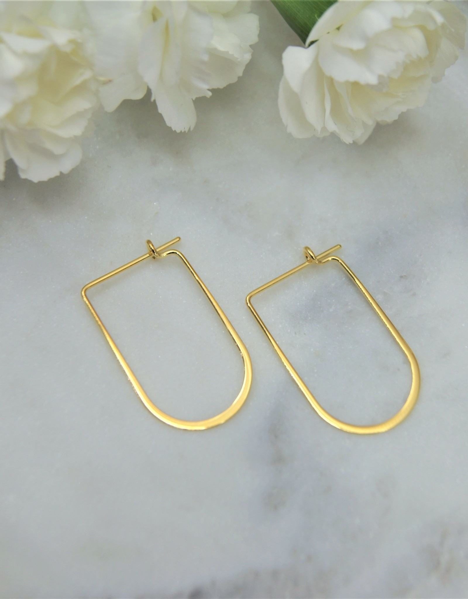 Tashi Round/Rectangle Freeform Hoops - Gold vermeil