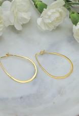 Tashi Pear Shaped Wire Hoop - Gold Vermeil