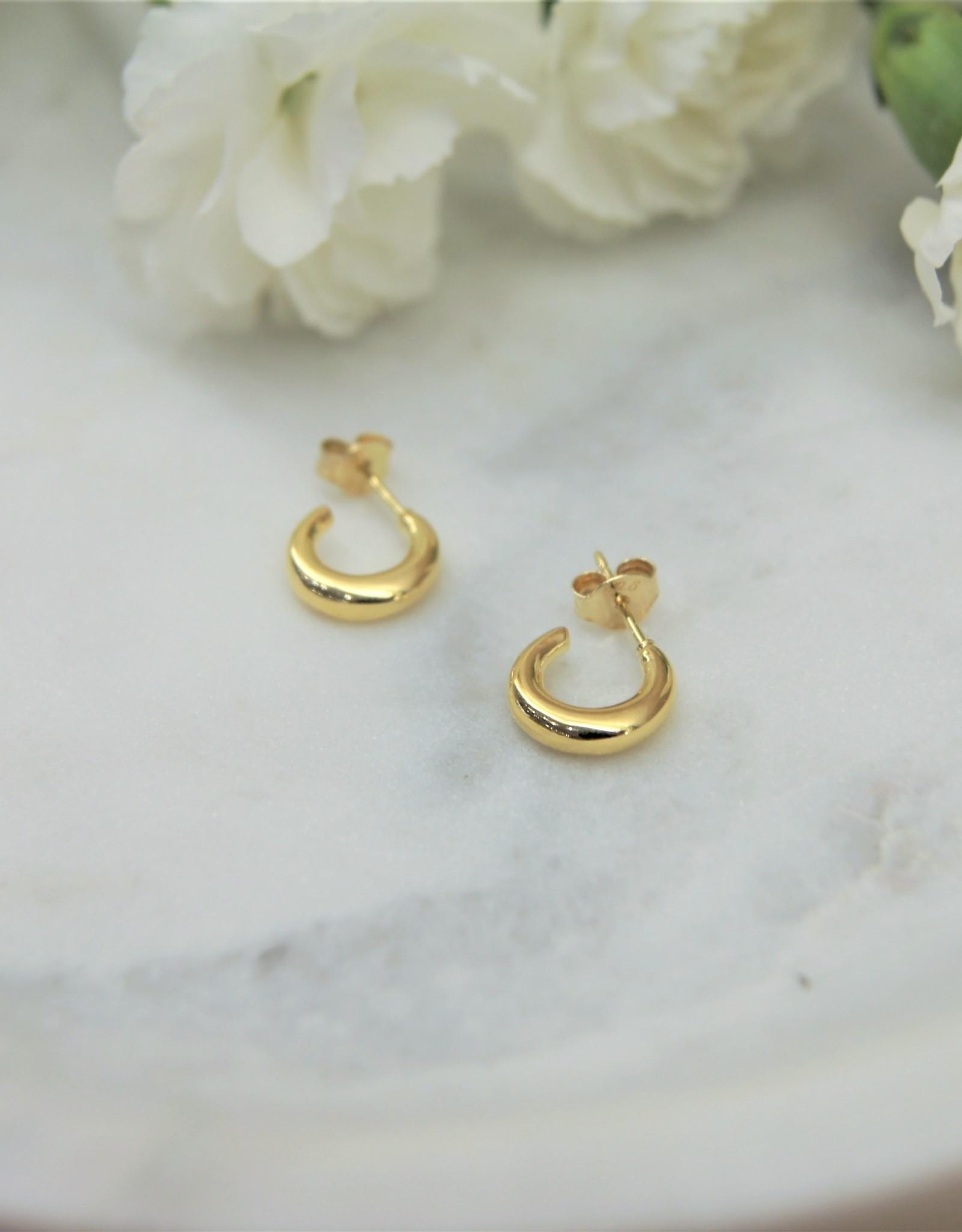 Tashi Tiny Puffed Post Hoop - Gold Vermeil