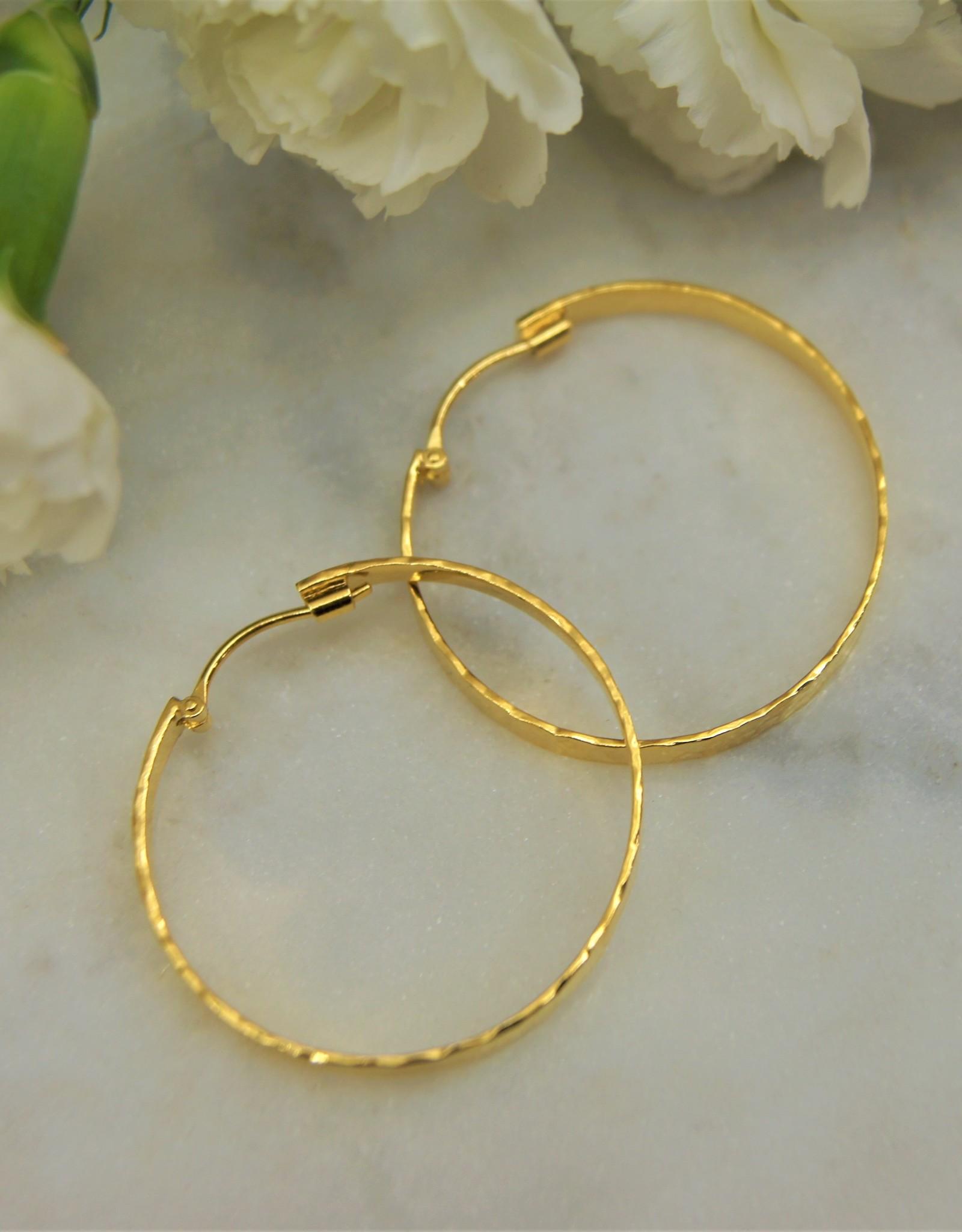 Tashi Hammered 35mm Hoop -Gold Vermeil